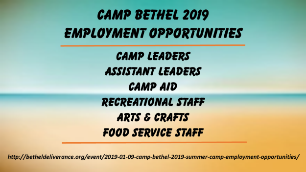 Camp Bethel 2019 Summer Camp Employment Opportunities
